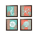 4 Lovely Teal and Coral Ocean Seashell Sand Dollar Seahorse Star Fish Collage; Nautical Decor; Four 12x12in Brown Framed Prints Ready to hang!