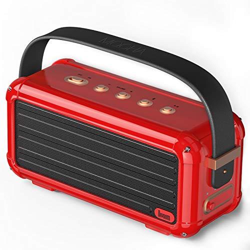 Divoom Mocha 40W Retro Bluetooth Lautsprecher, 25h Spielzeit Hi-Fi Musikbox mit Kraftvoller Bass, Geeignet für Familien Versammlung und Party, USB C Konnektivität (Rot)