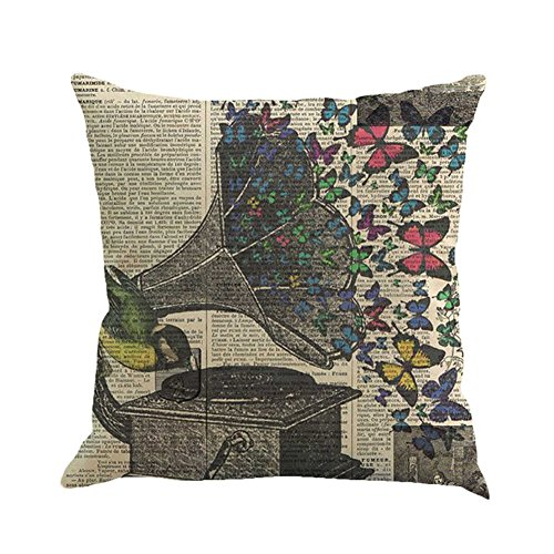 Inconnu Sunone11 vintage Newspaper Phonographe chantant Papillon Taies d'oreiller décoratifs Taie d'oreiller pour canapé Housse de coussin de protection arrière carré 43,2 x 43,2 cm