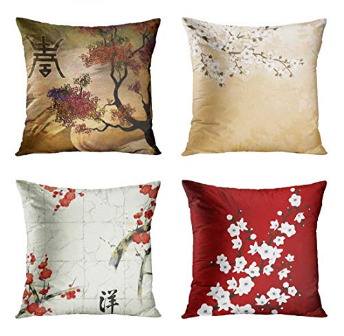 ArtSocket Set of 4 Throw Pillow Covers Japanese Zen Tree Eastern Nature Home Flowers Cherry Blossom Beige Cream Decorative Pillow Cases Home Decor Square 18x18 Inches Pillowcases