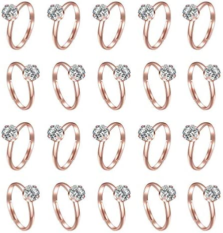 Topoox 60 Pack Rose Gold Diamond Engagement Rings for Bridal Shower Party Game Wedding Table product image