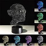 Generic 3DLEDUSB Licht mit einem Horrorthema Party Dekoration freche Kopf Horror Atmosphäre 7 Farbe...