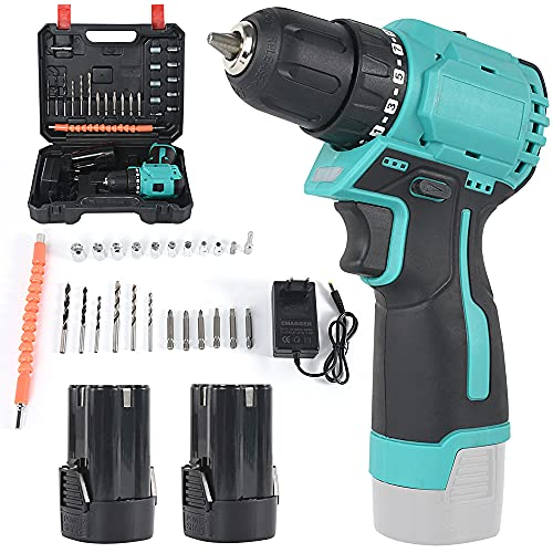 Cordless Drill Driver,Combi Drill, Electric Screwdriver, Accessory Kit,2 PCS Quick Lithium-Ion Change Battery Household Percussion Drill Set, with Stepless Speed Change