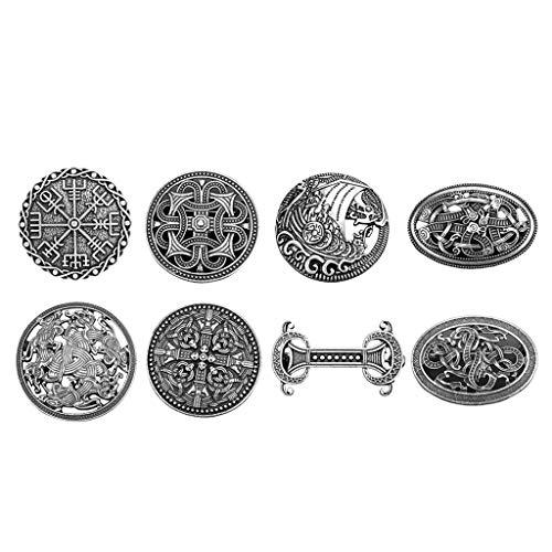 Baoblaze 8Pcs Celtic Viking Shield Broche Insignia Broche Nórdico Ropa Sujetadores-Capa Mantón Bufanda Pin Pin De Solapa, 8 Estilos Diferentes