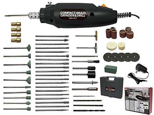 マクロス 小型 電動 やすり マルチ グラインダー & ドリル ブラック (60種のビット&パーツセット) MEH-67