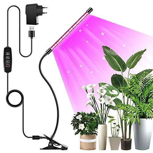 Eslas Pflanzenlampe led, 20 LEDs Pflanzenlicht Vollspektrum, 1 Heads Pflanzenleuchte,LED Grow Lampe 3 Licht Modus, 10 Dimmstufen, Zeitschaltuhr, 360°Einstellbar , Wachstumslampe für Zimmerpflanzen