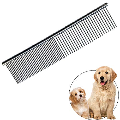 Pet Steel Comb Stainless Steel Grooming Comb with Rounded Ends Steel Combs for Dog Cat Steel Greyhound Comb Stainless Steel Cats Teeth Comb Professional Grooming Tool for Long and Short Haired Dogs