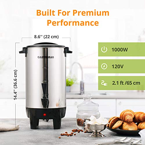 Gastrorag Premium 30 Cup Coffee Urn аnd Hot Beverage Dispenser – Stainless Steel Percolate Coffee Maker for Large Crowds – Quick Brewing – Automatic Keep Warm – Home/Commercial Use, DK30