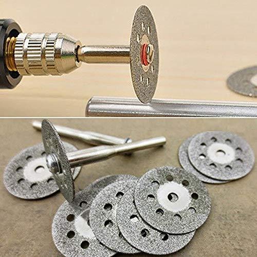 Z-LIANG 10pcs circulares Hojas de sierra de corte de la rueda discos + 2 piezas de acero al carbono Mandriles Conjunto de herramienta rotativa de corte Taladro Accesorios material duro Herramientas