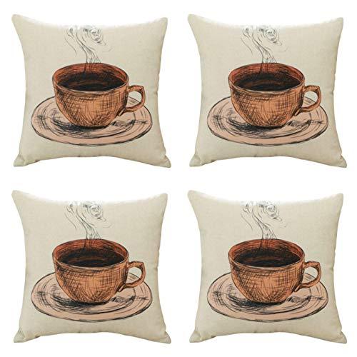 45 x 45 cm algodón lino café patrón funda almohada 4 piezas