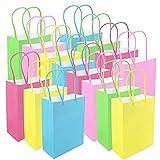 Tuloka, 15 sacchetti di carta multicolore per feste, caramelle, caramelle, sacchetti regalo con manici, per feste, matrimoni, feste, feste, 12 x 6 x 16 cm