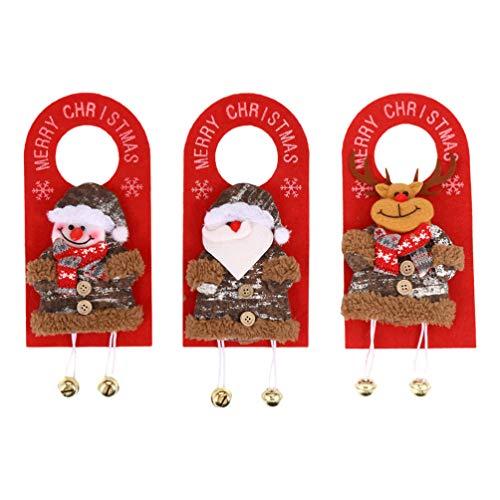 ULTECHNOVO - 3 pezzi in feltro per porta di Natale, per la cameretta dei bambini, Babbo Natale, pupazzo di neve, renna, decorazione per la porta dei bambini