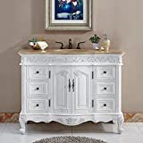 Silkroad Exclusive HYP-0152-T-UIC-48 Countertop Travertine Single Sink Bathroom Vanity with Cabinet, 48', White
