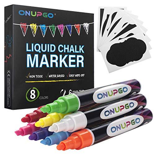 ONUPGO Marcadores de tiza líquida, paquete de 8 bolígrafos