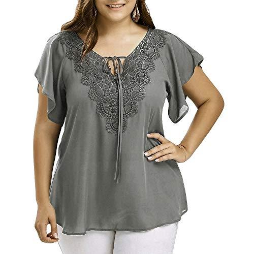Dames bovenstuk grote maten losse kant festival tuniek split mode elegante korte mouwen V-hals casual mode effen chiffon blouse tops shirt
