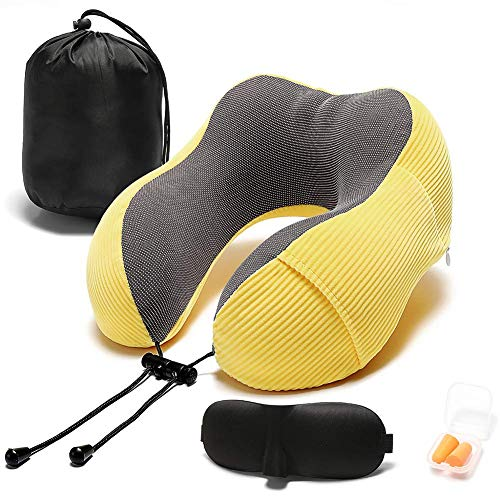 Iycorish Gelb Reisekissen Memory Foam mit 360-Grad-KopfstüTzkissen mit Aufbewahrungstasche Leichtes Reisekissen für Den Einsatz im Flugzeugen, Autos, ZüGen, Bussen und zu Hause