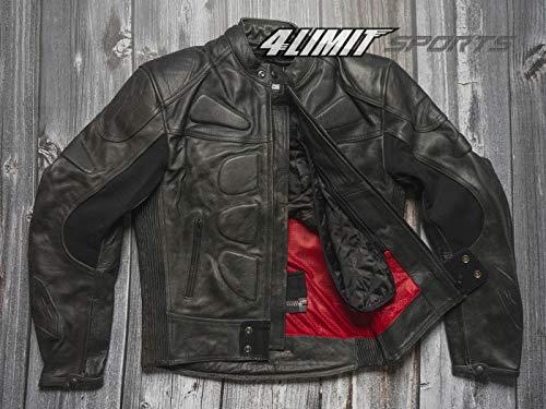 4LIMIT Sports Herren Motorradjacke Leder STREETBANDIT Biker Rocker Motorrad Jacke Lederjacke vintage schwarz