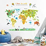 Ufengke Bande Dessinée Carte Du Monde Animal Mignon Stickers Muraux, La Chambre des...