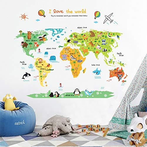 ufengke Cartoon World Map Cute Animal Wall Decals Childrens Room Nursery Removable Wall Stickers Murals Children/'s Room Nursery Removable Wall Stickers Murals Ufingo UF-WL1162