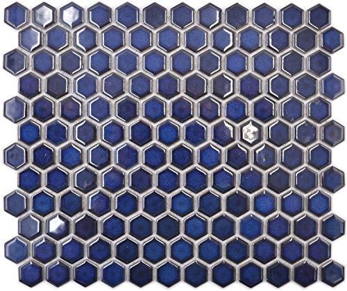 Mosaikfliese Keramik Hexagon Sechseck kobaltblau glänzend Badfliese Küchenrückwand Wandfliese Fliesenspiegel Wandverkleidung Thekenverkleidung Mosaikbordüre Küche