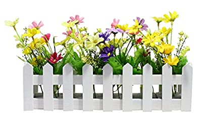 JustNile Decorative Wooden Picket Fence Window Box / Flower Box with Artificial Daisies
