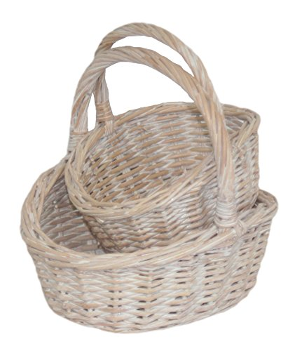 Red Hamper C040 Rouge Hamper Panier Set 2, Wicker, Brown, 17 x 55 x 15 cm, Osier, Marron