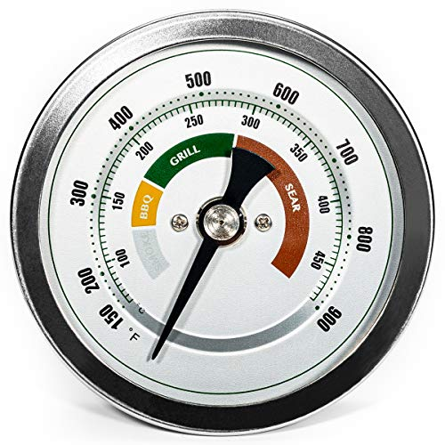 """GriAddict 3.3"""" Big Green Egg Thermometer Replacement, BGE Thermometer - The Thermometer for Big Green Egg, Double Scale 150-900°F Temperature Gauge, Waterproof with No-Fog Glass Lens, Green Egg Parts"""
