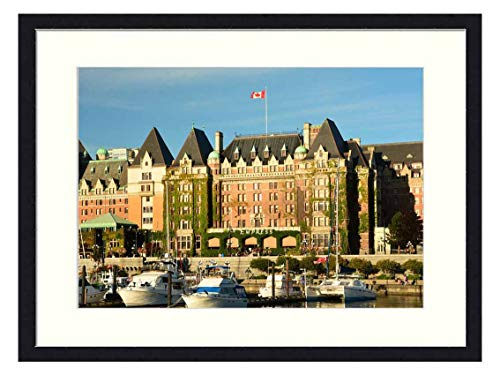 OiArt Wall Art Canvas Prints Wood Framed Paintings Artworks Pictures(20x14 inch) - Empress Hotel Victoria Inner Harbor Travel British