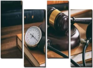 4 Panel Law Gavel and a Blood Pressure Gauge Stethoscope Hearts and Pictures Canvas Wall Art Ocean Oil Painting Animal Prints City Poster Flower Pictures Home Wall Decoration for Artwork