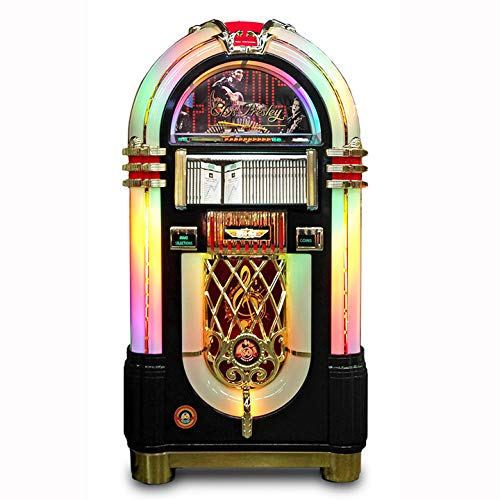 Read About Rock-Ola Bubbler CD Elvis Jukebox in Black with Bluetooth Connectivity, Remote Control, L...
