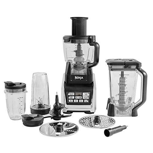 Ninja BL682EU2 3 in 1 Küchenmaschine (1.500 Watt, Smoothie Maker und Standmixer, Hochleistungsmixer mit Auto-iQ-Programmen und Pro-Extractor-Klingen) schwarz/silber