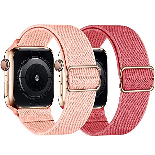 Compatible with Apple Watch Band 38mm 40mm 42mm 44mm Elastic Nylon Braided Thin Wristbands Sport Solo Loop Stretchy iPhone Watch Bands for iWatch Series SE 6 5 4 3 2 1 for Women Replacement Strap 2 Pack