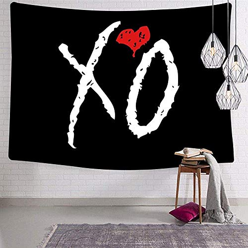 X-O Week-end Logo 3D Printing Tapestries Artwork Wall Hanging Blanket Bedroom Living Room Dorm Decor Fabric 51 x 60 Inch
