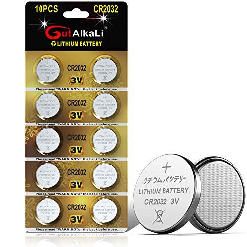 GutAlkaLi 10 Stück CR2032 3V Lithium Knopfzellen CR 2032 Batterien