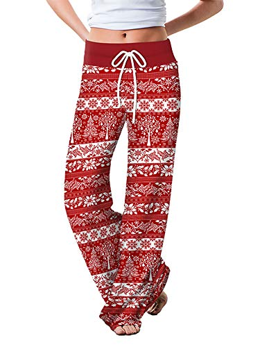 Women's Comfy Stretch Christmas Print Pants High Waist Drawstring Wide Leg Trousers Loose Floral Sweatpants (Red Snowflake Tree, L)