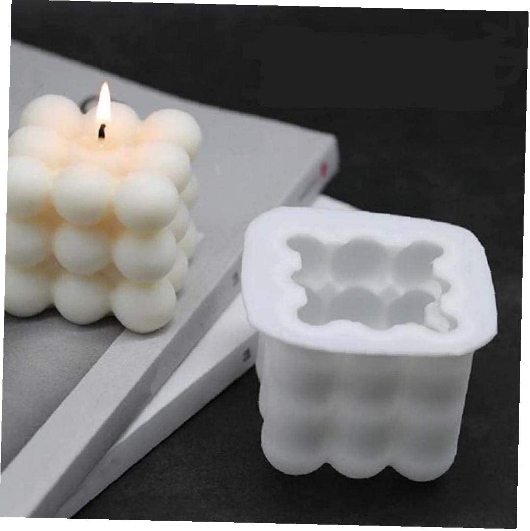 Velas moldea DIY 3D Cubo de Silicona Molde para la Pasta de az/úcar Artesan/ía Adornos Vela perfumada Cera de Soja jab/ón Blanco Grande