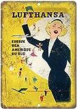 HONGXIN Cartel de metal de Lufthansa Europe para viajes, decoración artística para bar, cafetería, hotel, oficina, dormitorio, jardín