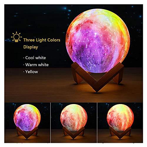 WYY Moon nachtlampje 3D Stella Luna LED nachtlampje met houten sokkel 3 kleuren tafellamp met USB-kabel voor verjaardag voor kinderen