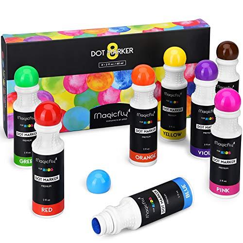 Magicfly Waschbare Marker, 8 Farbige Bingo Marker Dot Dabber Kinder Stifte, Dauber Marker für die Kinder in der Vorschule, Kindergarten
