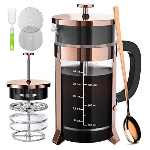 NiCPAY Cafetera de prensa francesa de café (34 onzas) con sistema de filtración de 4 niveles – acero inoxidable de grado 304 – vidrio de borosilicato grueso resistente al calor