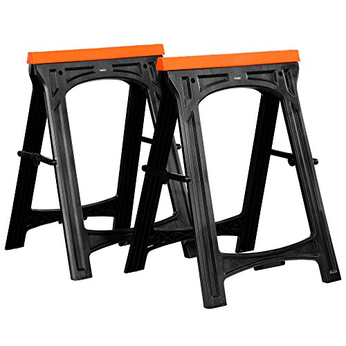 VonHaus Folding Saw Horse Trestle Twin with Rubber Inserts Support Bars Pack Huge 150kg Max Load - Cutting Stands Corrosion and Weather Resistant