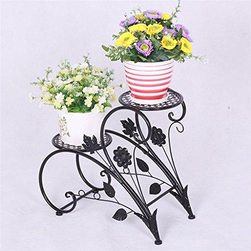 Panoplie de fleurs en fer Pastoral 2 couches Étagère en pot de plancher en bois Salle de séjour intérieure Cadre en pot (76 * 26 * 70cm) (Couleur : Noir)