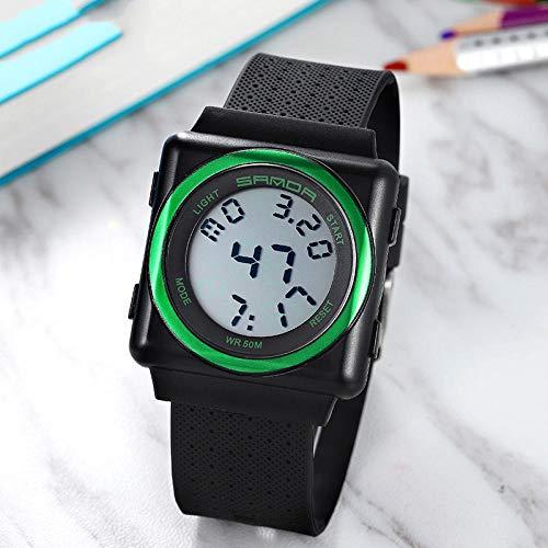 SANDA Reloj Hombre,Reloj Masculino Reloj electrónico Moda Luminoso Impermeable Estudiante Fuerzas Especiales Deportes Juveniles Reloj multifunción-Verde Oscuro