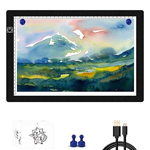 Light Box for Tracing-A4 Portable Light box ,Ultra-Thin Light Board ,Light Pad Tracer with 2 Magnets,Stepless Dimmable Light Table for Artists Drawing,Diamond Painting,X-ray View (2 Magnets Included)
