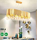 lampadario per tavolo ovale Moderna ed elegante luce in cristallo K9, la lampadina a LED brilla, il cristallo riflette la luce meravigliosa. Realizzata in cristallo K9 chiaro e acciaio inossidabile, la tecnologia di taglio del cristallo di precisione emette rifrazione della luce.