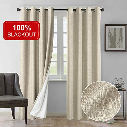 Rose Home Fashion Curtains 84 Inch Length 2 Panels, 100% Blackout Curtains(with Liner), Natural Linen Textured& Blackout Thermal Insulated Liner, Burlap Curtains for Bedroom/Living Room(50x84 Natural)