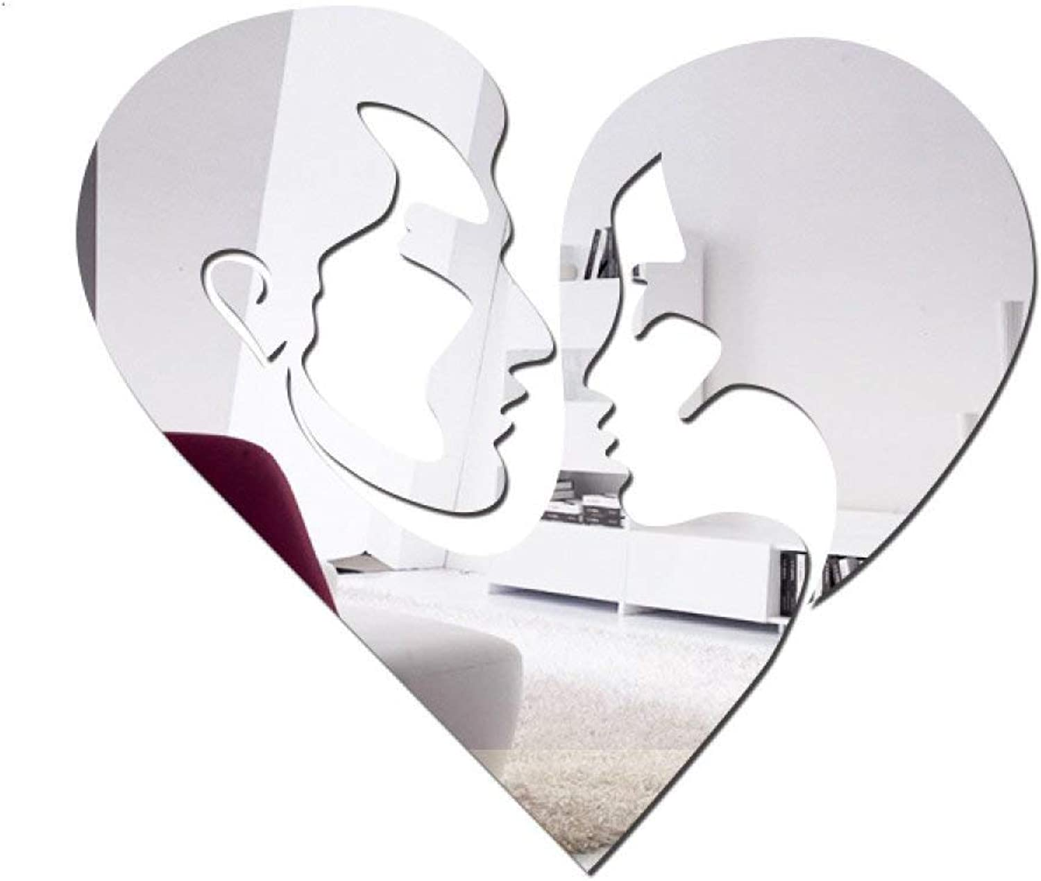 Lvdijidian PS Plastic Wall Stickers Heart-Shaped Mirror Paste 3D Stereo Acrylic Removable Creative Decorative Decor Sticker for Nursery Room (color   Silver)