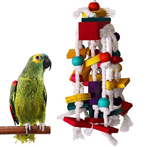 RYPET Bird Chewing Toy - Parrot Cage Bite Toys Wooden Block Bird Parrot