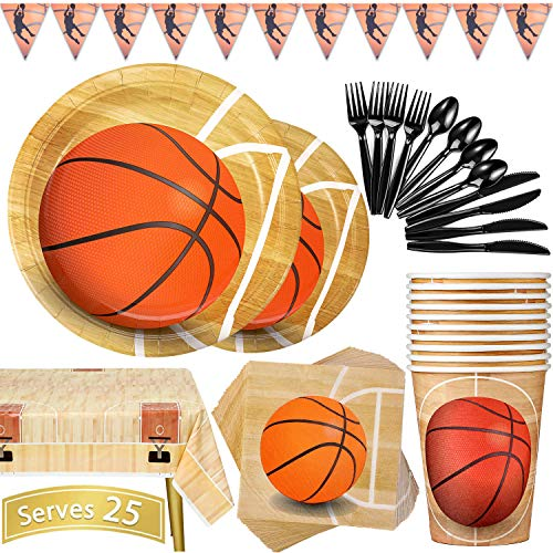 Basketball Party Supplies 177PCS Sports Theme Children Birthday Decoration Disposable Dinnerware Set Includes Plates, Cups, Napkins, Spoons, Forks, Knives, Tablecloth and Banner, Serves 25