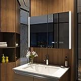 Meykoers Spiegelschrank mit Beleuchtung 80x60x15cm 2 Türig, Badschrank mit Doppelseitiger...